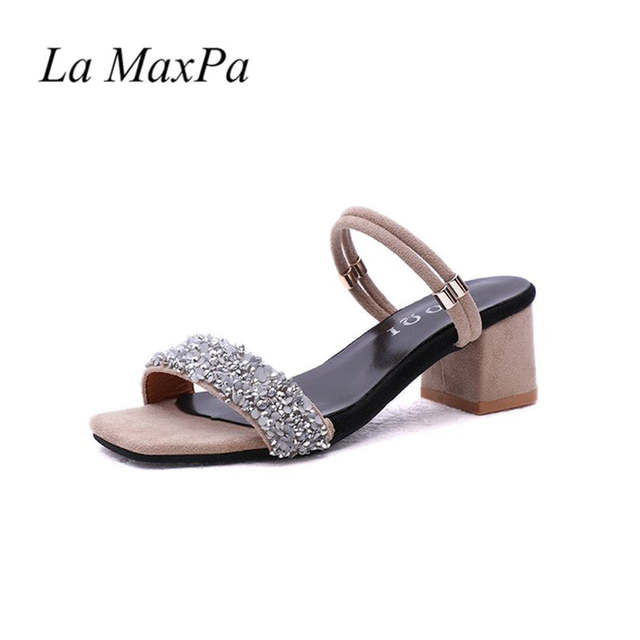 2b5f33c95 Detail Feedback Questions about 2018 Rough heeled Sandals Summer New Rhinestone  Sequins Thick Heeled Shoes Fashion Outerwear Cool slippers Double Strap ...