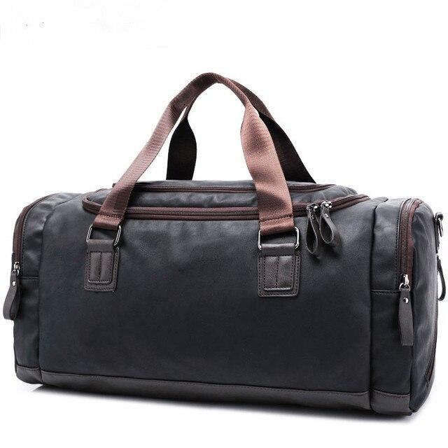 PU de cuero de los hombres bolsa de viaje de lona b5c38ab6cc5eb
