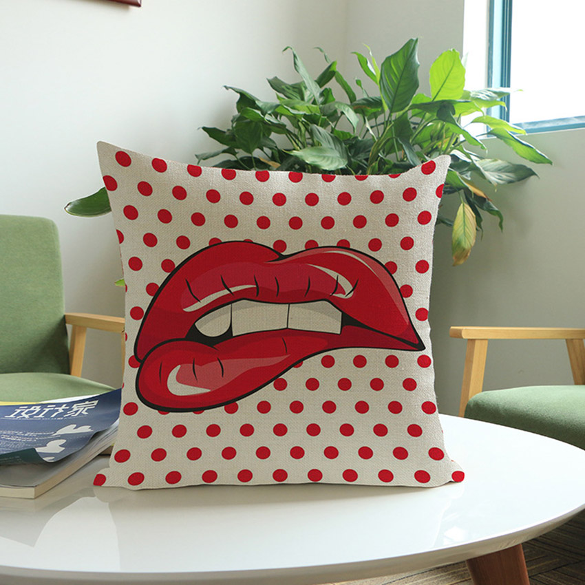 POP Art Fashion Girl Plaids Lip Print Throw Pillow Home Decor Retro Outdoor Decorative Square Chair Cushion For Car Seat 45x45cm