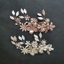 SLBRIDAL Handmade Wired Crystal Rhinestone Freshwater Pearl Flower Wedding Hair Clip Barrette Bridal Headpieces Accessories