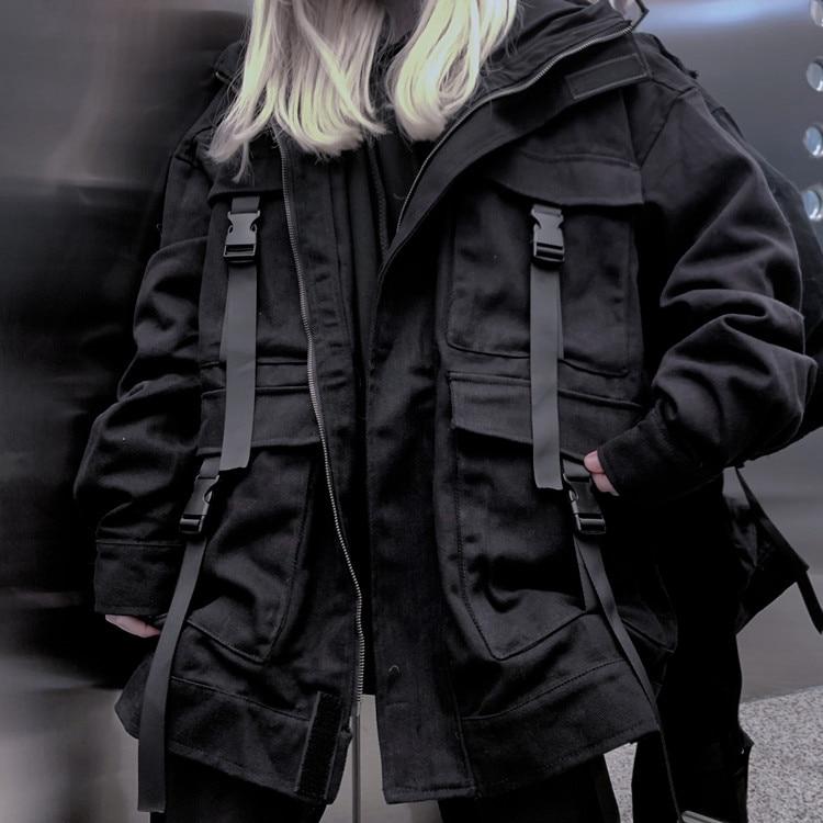 HTB1NjAwTCzqK1RjSZFHq6z3CpXa0 Neploe Korean Streetwear Harajuku Black Denim Jacket Oversized Pockets Women Jeans Jackets Loose BF Vintage Casual Coats 39106
