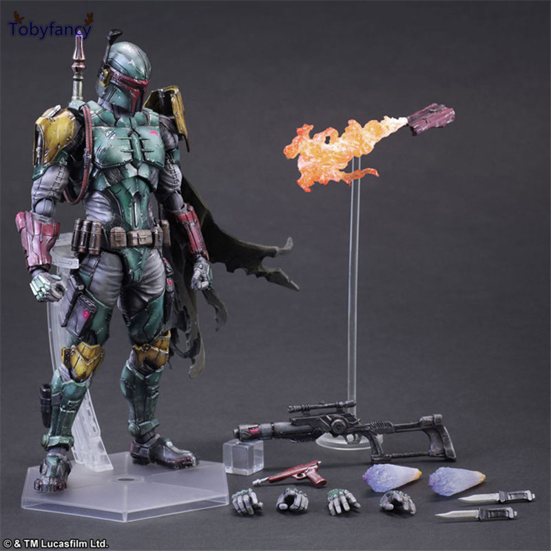 Tobyfancy Star Wars Boba Fett Action Figure Play Arts Kai Toys PVC 270mm Anime Toys Boba Fett Movie Star Wars Playarts star wars boba fett jango fett s son bounty hunter pa play arts kai 28cm pvc action figure toys gift model figurines brinquedos