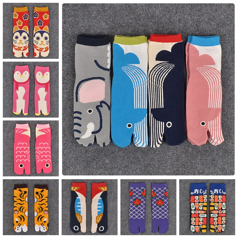 1 Pair Womens Samurai Sandal Short Print   Socks   Cotton Split Toe   Socks   Kimono Flip Flop Carp XLZ9450
