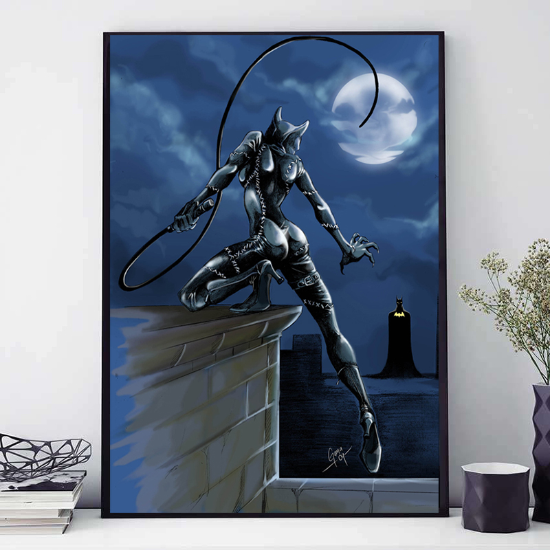 Catwoman and Batman Canvas Painting Marvel Superheroes Movie Oil Prints and Posters Wall Art Picture for Living Room Home Decor