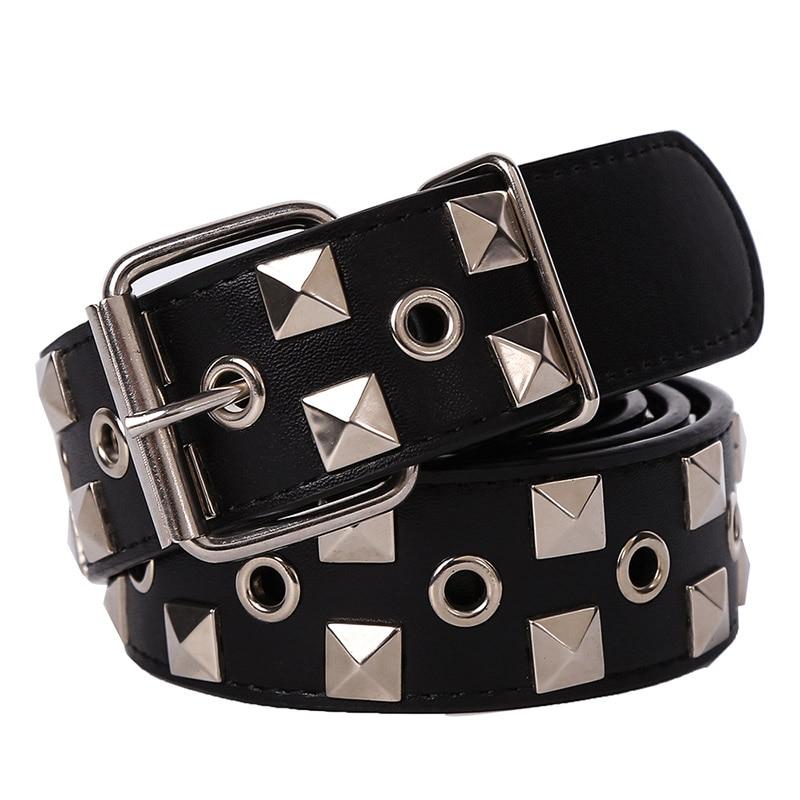 Hongmioo Brand New Designer Mens Belt Black Metal Pyramid Studded Leather Belt For Women Dress Luxury Punk Rock Free Shipping