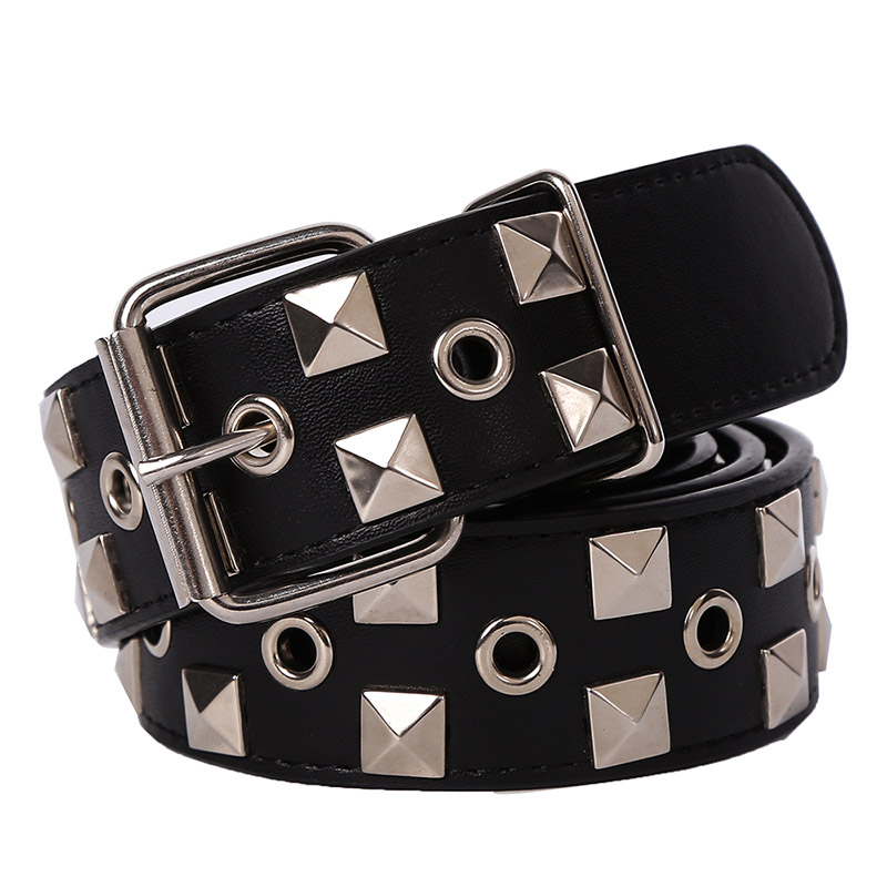 Hongmioo Brand New Designer Mens   Belt   Black Metal Pyramid Studded Leather   Belt   For Women Dress Luxury Punk Rock Free Shipping