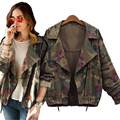 Manche Femme Plus Size Autumn Winter Army Green Camouflage Long Sleeve Rose Floral Print Short Women Denim Jackets Chaqueta Coat