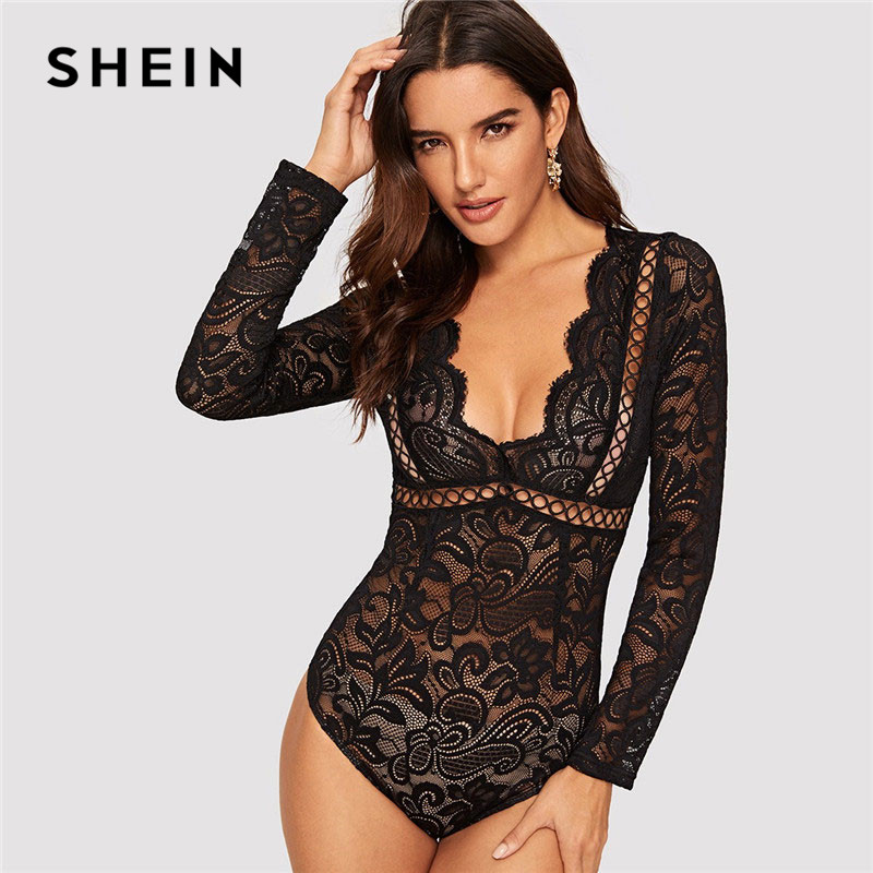 SHEIN Sexy Black Plunging Neck Cutout Knot Back Lace Bodysuit Women Deep V Neck High Waist Skinny Going Out Mesh Bodysuit
