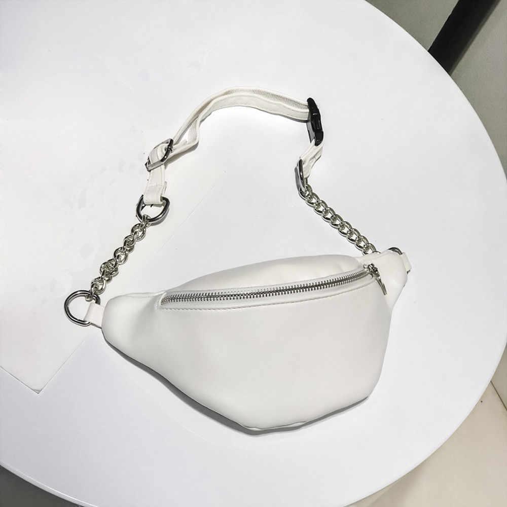 CONEED ファッション女性ウエストパックファッションチェーン革メッセンジャーバッグショルダーバッグチェストバッグパック APR21