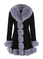 Long Womens Light Grey Fox Fur Coat Silver Fox Fur Collar Rex Fur Coat Real Fur Cuffs Warm Outwear Plus Size