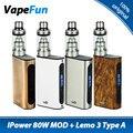 ¡ CALIENTE! ipower eleaf 80 w vaping kit w/lemo 3 atomizador tipo a y iPower Batería Mod vs Sólo 5000 mAh iPower TC Caja MOD cigarrillo electrónico