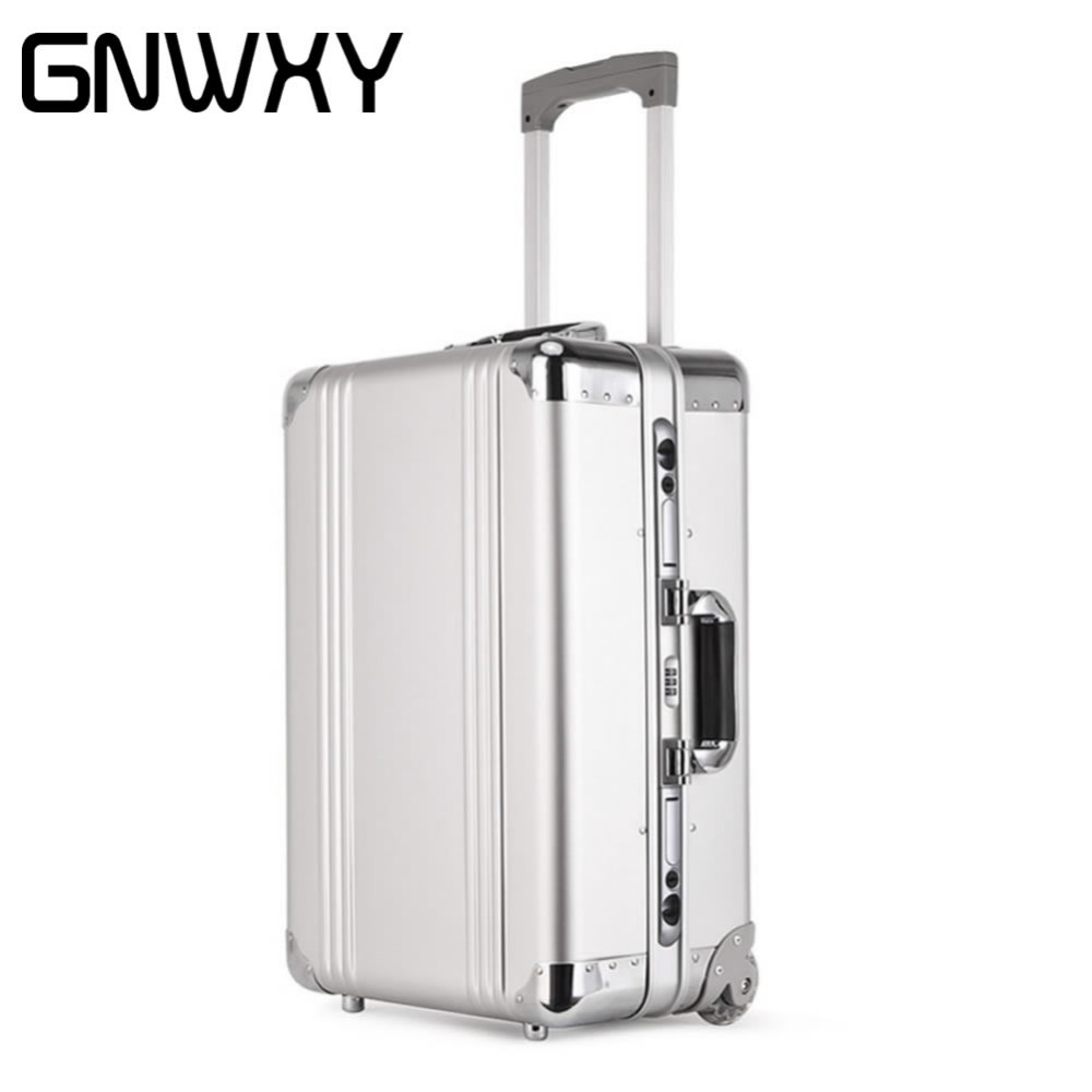 Original GNWXY 100% Aluminum Magnesium Alloy Rolling Suitcase 20 Inch Crash Proof Truckle Suitcase Travel Case Carry on Luggage vintage suitcase 20 26 pu leather travel suitcase scratch resistant rolling luggage bags suitcase with tsa lock