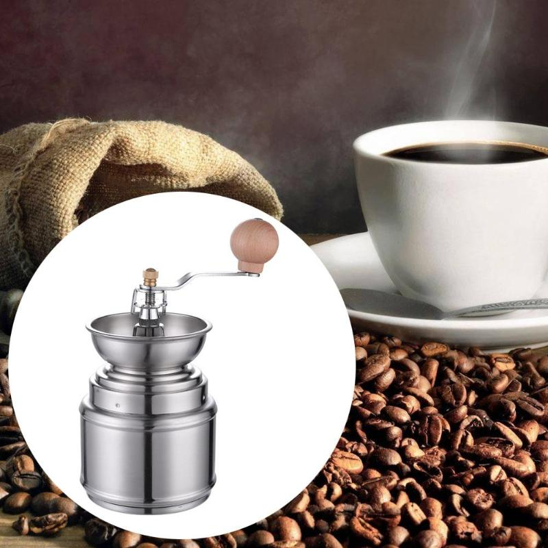 Stainless Steel Ceramic Coffee Bean Grinder Kitchen Spice Pepper Burr Mill Coffee Machine Manual Coffee Grinder Grinding Tool 5306 classical wooden manual pepper spice mill grinder muller wood