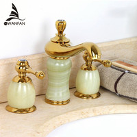 Free Shipping New Luxury Stone Basin Mixer Faucet Copper Gold Dual Handle Bathroom Sink Taps Bathtub