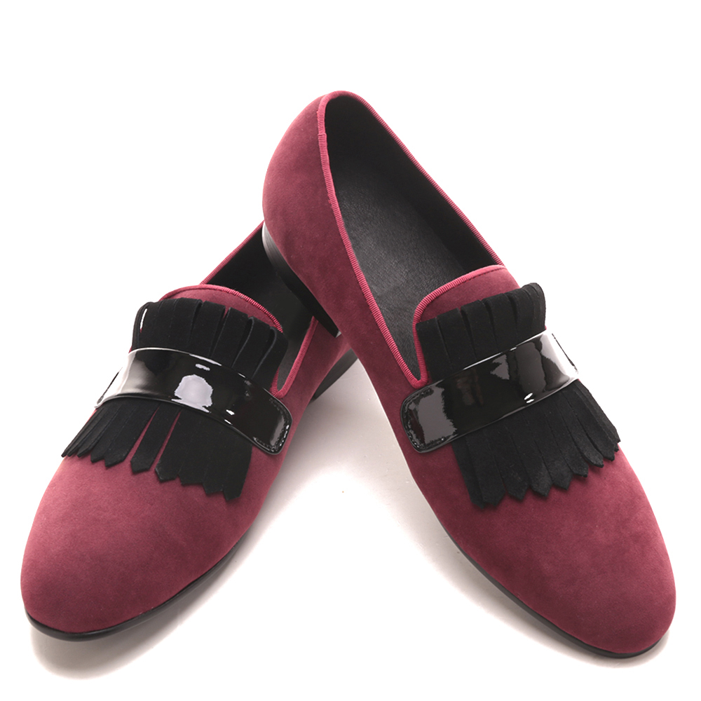Handmade Men red velvet classic loafers with large suede fringed Fashion Party and Banquet men dress shoes handmade red suede men shoes with gold rhinestone and gold toe metal party and banquet men dress loafers male s flats