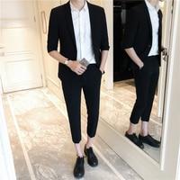 2018 Summer New Korean Casual Fashion Men S Suit Single Button Cotton Solid Color Simple Formal