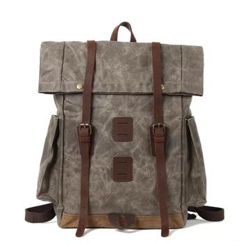 Mens Canvas Backpack Leather Rucksack for Men Large capacity Waterproof outdoor Travel Backpacks Vintage Bookbag with Laptop Bag