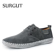 Marca SURGUT, diseño minimalista, 100%, cuero de ante genuino para hombre, ocio, marca plana, Primavera, vestido Formal informal, zapatos planos Oxford