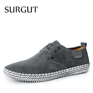 Image 1 - SURGUT Brand Minimalist Design 100% Genuine Suede Leather Mens Leisure Flat Brand Spring Formal Casual Dress Flat Oxford Shoes