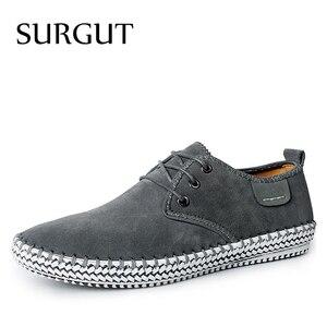 Image 1 - SURGUT minimalistyczny Design marki 100% prawdziwa skóra zamszowa mężczyzna rozrywka płaskie marki wiosna formalne Casual Dress buty typu Oxford na płaskim obcasie