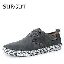 Мужские туфли оксфорды на плоской подошве SURGUT, коричневые Формальные повседневные туфли из 100% натуральной замши для отдыха, весна 2019