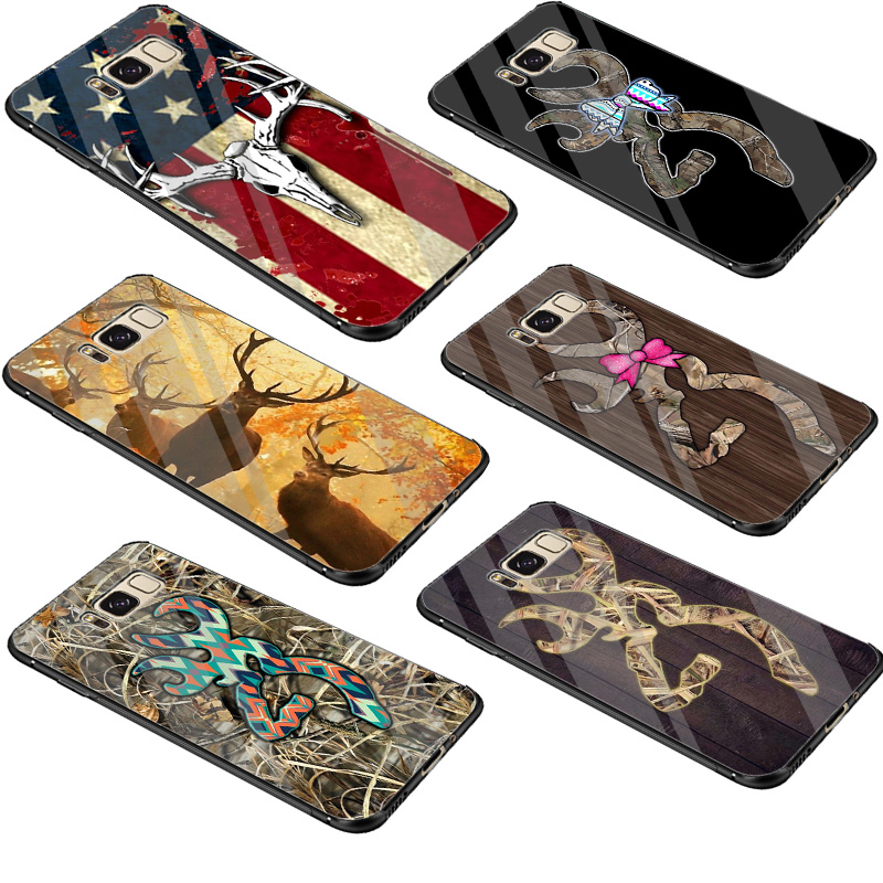 Aspiring Desxz Glass Tpu Browning Hunting Deer Novelty Case Cover For Samsung Galaxy S7 Edge S8 S9 Plus Note 8 9 S10 Fine Workmanship Fitted Cases Phone Bags & Cases