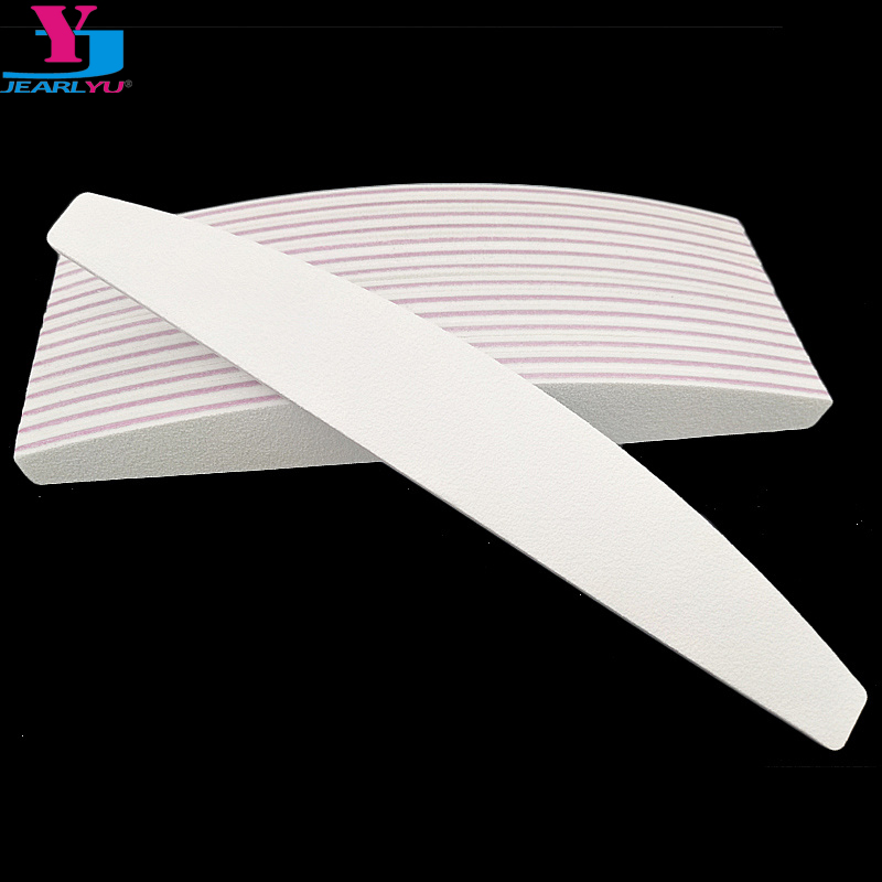 50Pcs Wholesale 100/180 Nail Art Sanding Sandpaper Nail Washable Nail File Banana Buffing Curved Professional Manicure Tools Set
