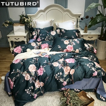3D Pink Rose print bedding sets Floral Percal 100% Egyptian cotton bedlinen sheets Satin duvet cover European girls bedspreads