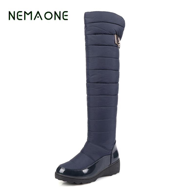 NEMAONE 2017 Large size 34-43 boots round toe med heels platform women shoes high quality pu leather thick winter snow boots asumer large size 34 43 mid calf boots round toe med heels platform women boots high quality pu leather thick winter snow boots