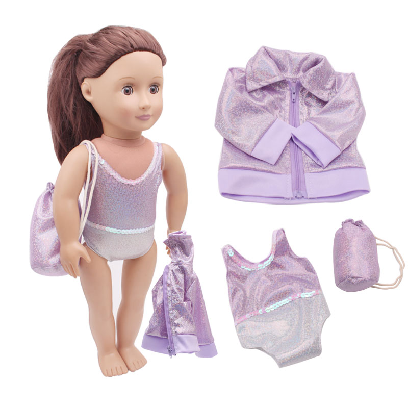 3 PC.Gymnastics Leotard, Jacket, And Bag,DollGymnastics Outfit By Sophia's,Doll Clothes For 18 Inch Dolls LikeC283