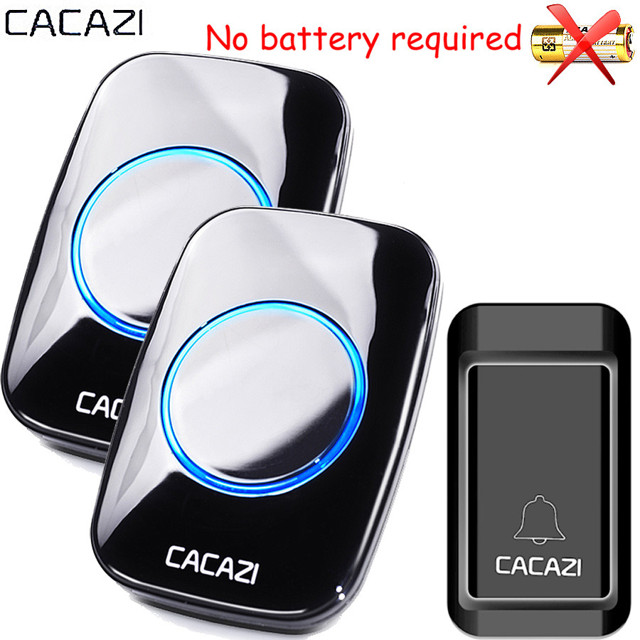 CACAZI Waterproof Self-powered Wireless Doorbell EU AU UK US Plug smart home Door Bell Chime ring 1 battery button 1 2 receiver cacazi dc wireless doorbell need battery 150m remote waterproof gate door bell chime ring wireless 36 tunes 1 emitter 2 receiver