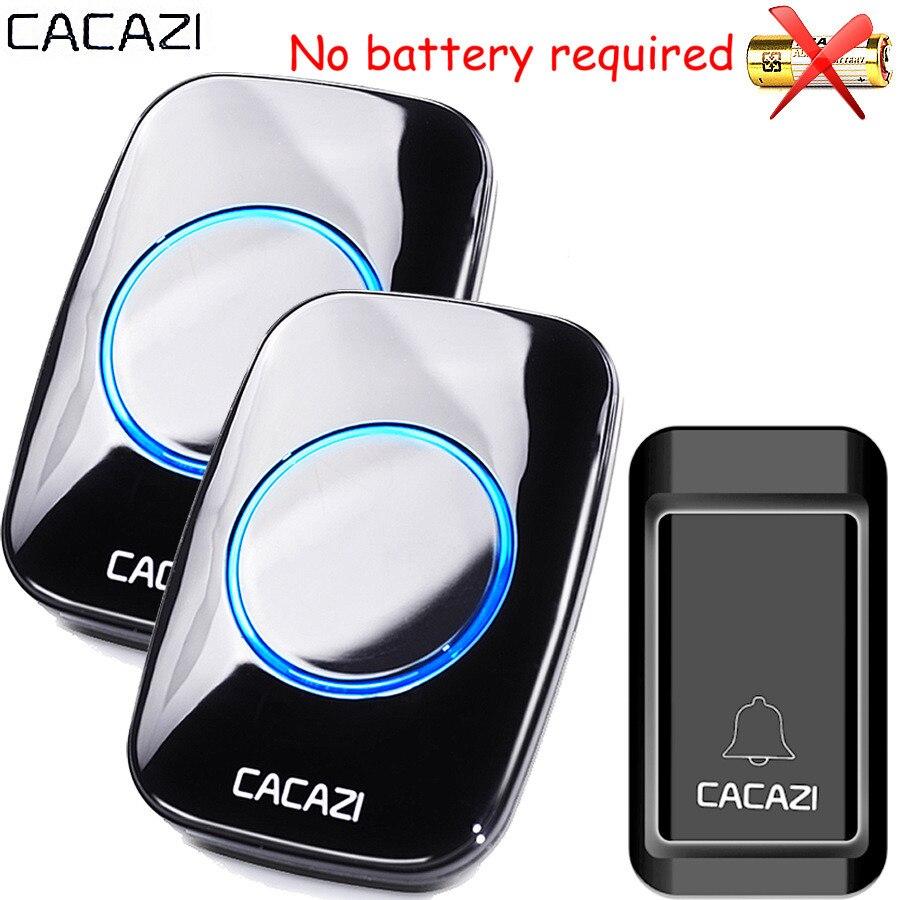 CACAZI Waterproof Self-powered Wireless Doorbell EU AU UK US Plug smart home Door Bell Chime ring 1 battery button 1 2 receiver
