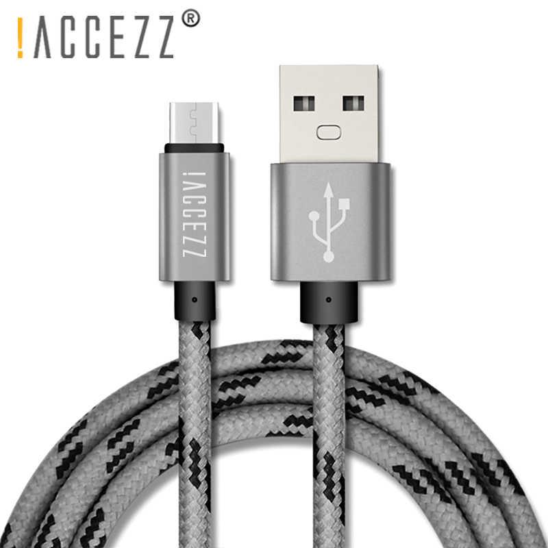 ! ACCEZZ النايلون USB شحن كبل مزامنة مايكرو لسامسونج غالاكسي S7 S6 لهواوي ل Xiaomi Redmi الروبوت الهاتف شاحن سريع الحبل