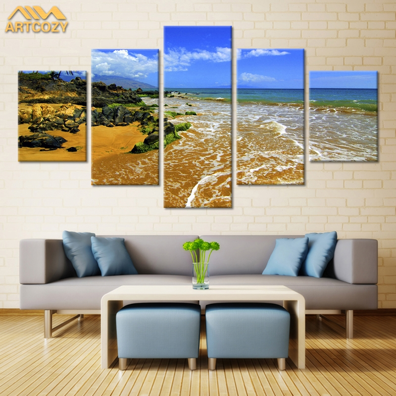 Us 17 68 48 Off Artcozy 5 Panel Canvas Painting Spray Printings River Rock Wall Picture Home Decoration Paint Waterproof Pipe Packing In Painting
