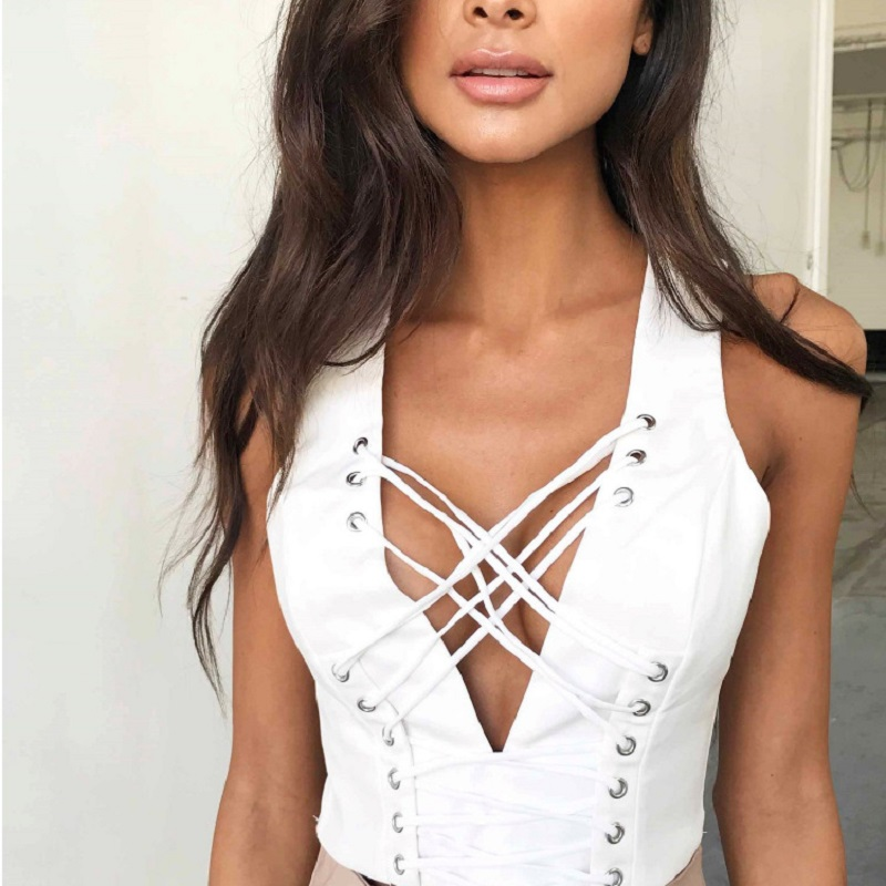 Buy women's blouse v neck sleeveless high low sexy top blouses