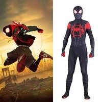 SpiderMan In die SpiderVerse Miles Morales Cosplay Kostüm Zentai 3D Muster Body Anzug Overalls Erwachsene Männer Kinder