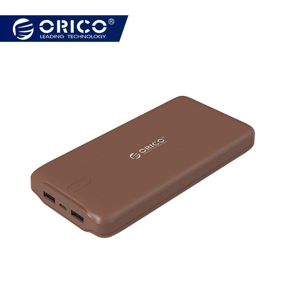 ORICO 20000 mAh Portable batterie externe USB 5V2. 4A Powerbank chargeur de batterie externe pour téléphones portables Tablet Brun/Blanc/Rose
