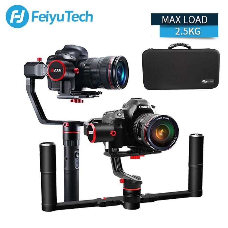FeiyuTech a2000 3 Eixo Cardan DSLR Câmera Estabilizador Aperto de Mão para Canon SONY Nikon 5D 2000g Carga Bluetooth com saco