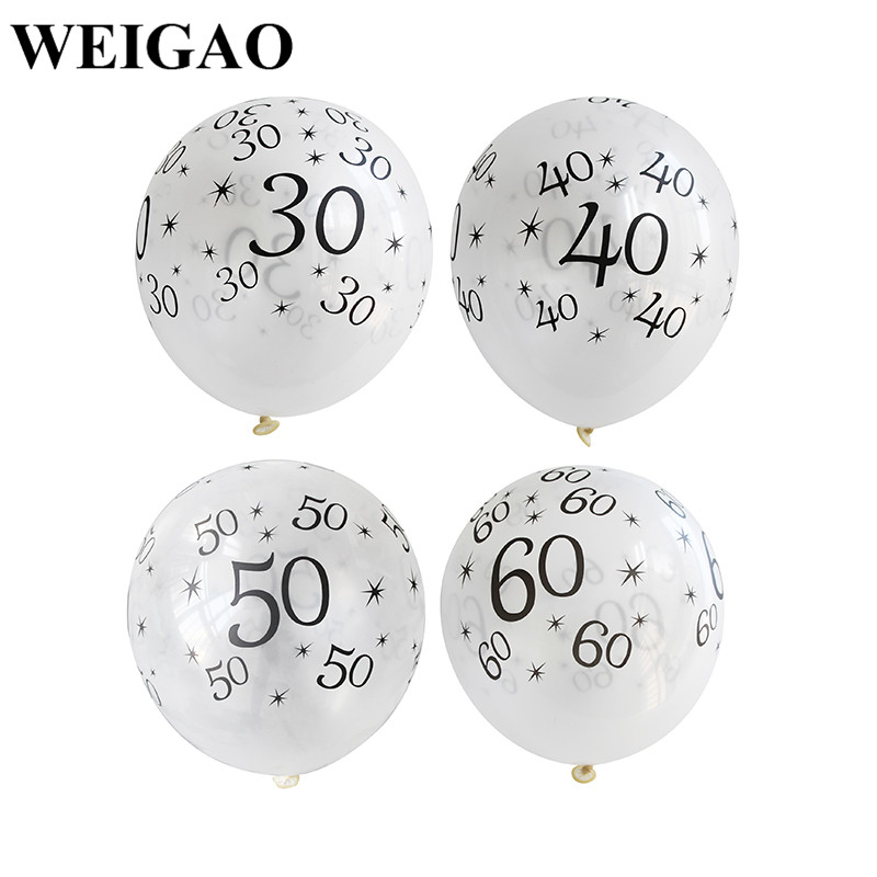 WEIGAO 10Pcs 30/40/50/60th Latex Ballons Wedding Decoration Ballons New Year Gifts Birthday Party Decor Party Favor Supplies