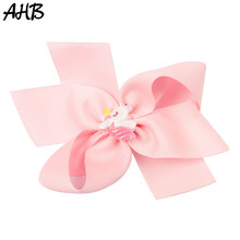 AHB 5 Unicorn Hair Bows with Clips for Girls Cute Rainbow Grosgrain Ribbons Hairgrips Handmade Kids Hairpins Accessories
