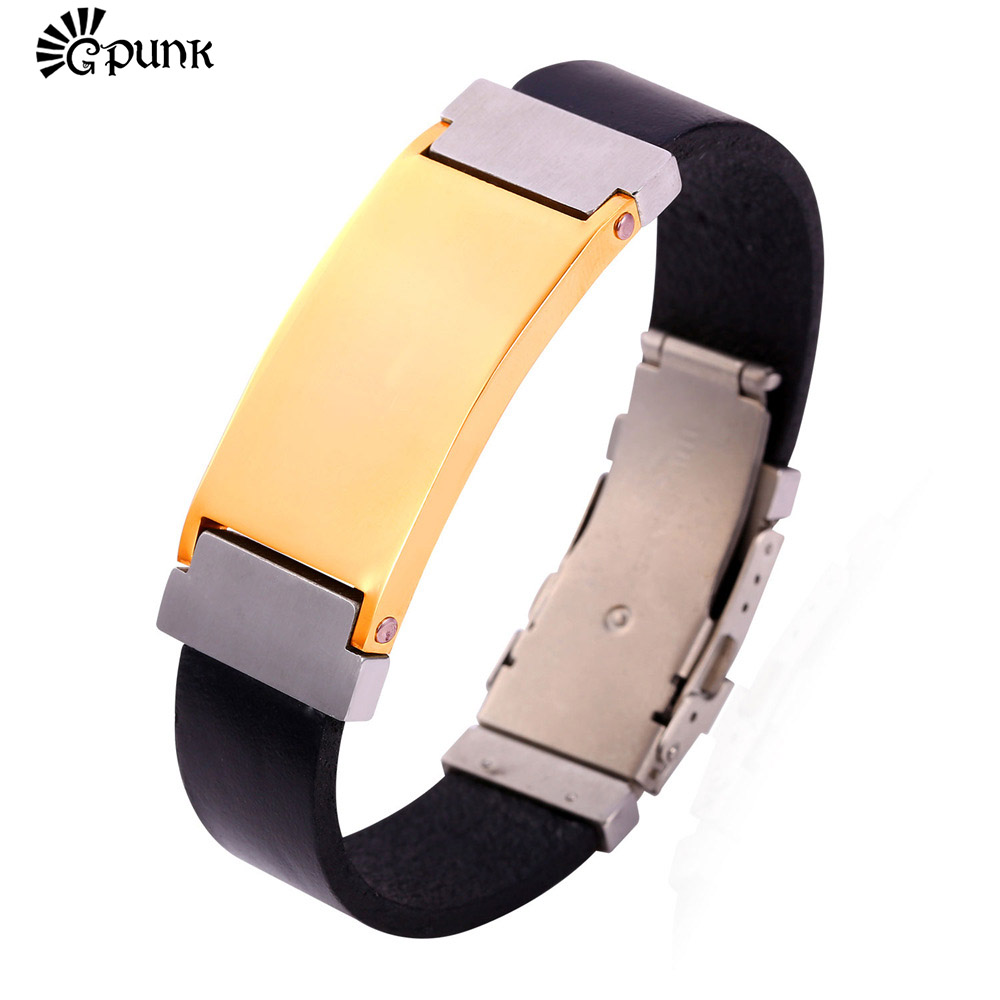 Men Bracelets & Bangles Stainless Steel Black Genuine Leather Bracelet Gold color Wrap Bracelet 2016 Wholesale Jewelry H1530G