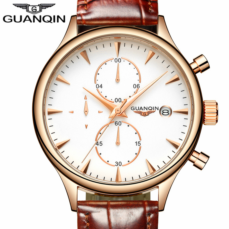 ФОТО GUANQIN Watch Mens Quartz Watch reloj hombre business waterproof Fashion Watches Chronograph Date Sport Leather Strap Wristwatch