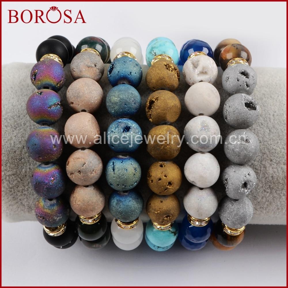 BOROSA Handcrafted 10mm Drusy Stones Strand Bracelets for Women Girls,Fashion Multi Kind Druzy Gems Beads Bracelet G1439