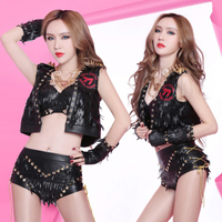 Singer Clothing Leather Suit DS Costume Jazz Dance Costumes Rock Nightclub Female DJ Dancing Bodysuit Lead