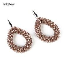INKDEW Colorful Handmade Beaded Water Drop Earrings for Women Crystal Beads Earrings Big Long Earrings boho vintage statement