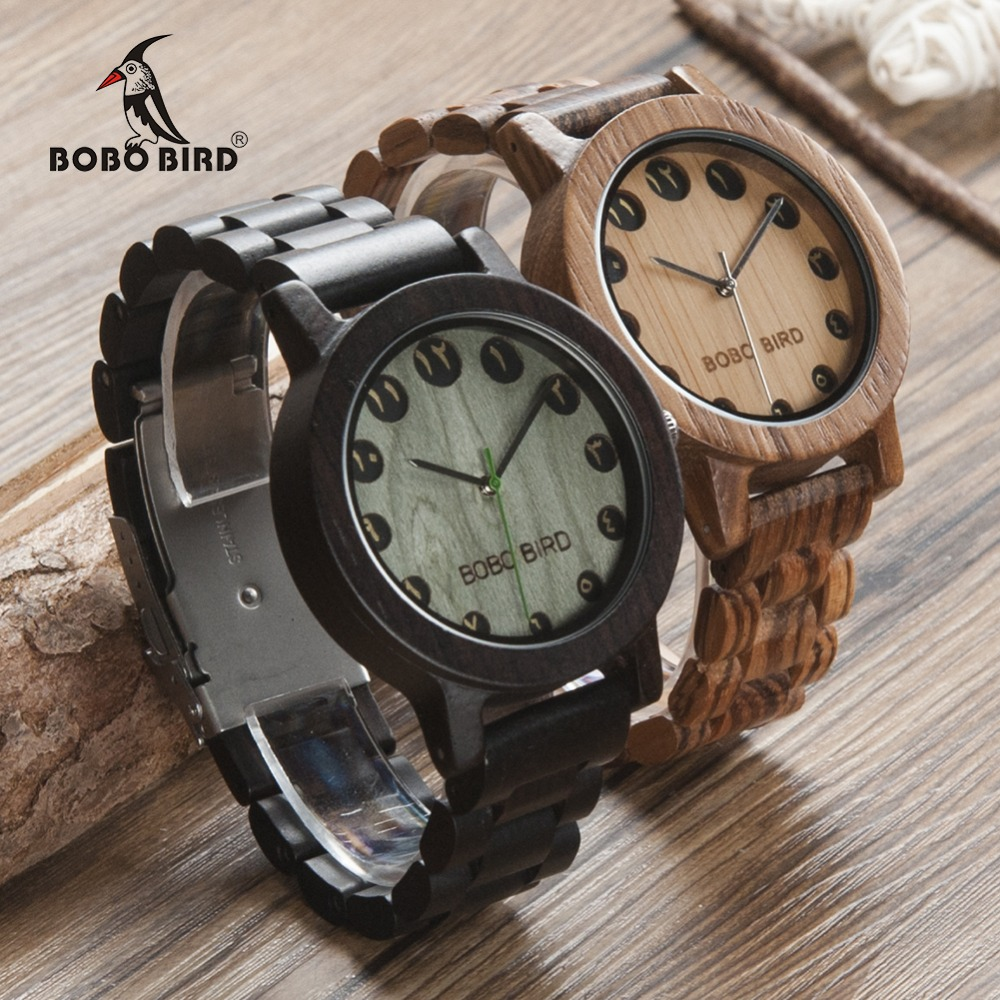BOBO BIRD WN24N25 Wood Watch Zabra Ebony Wooden Watches for Men Eastern Arabic Numerals Dial Watch with Tool for Adjusting Size bobo bird brand new wood sunglasses with wood box polarized for men and women beech wooden sun glasses cool oculos 2017