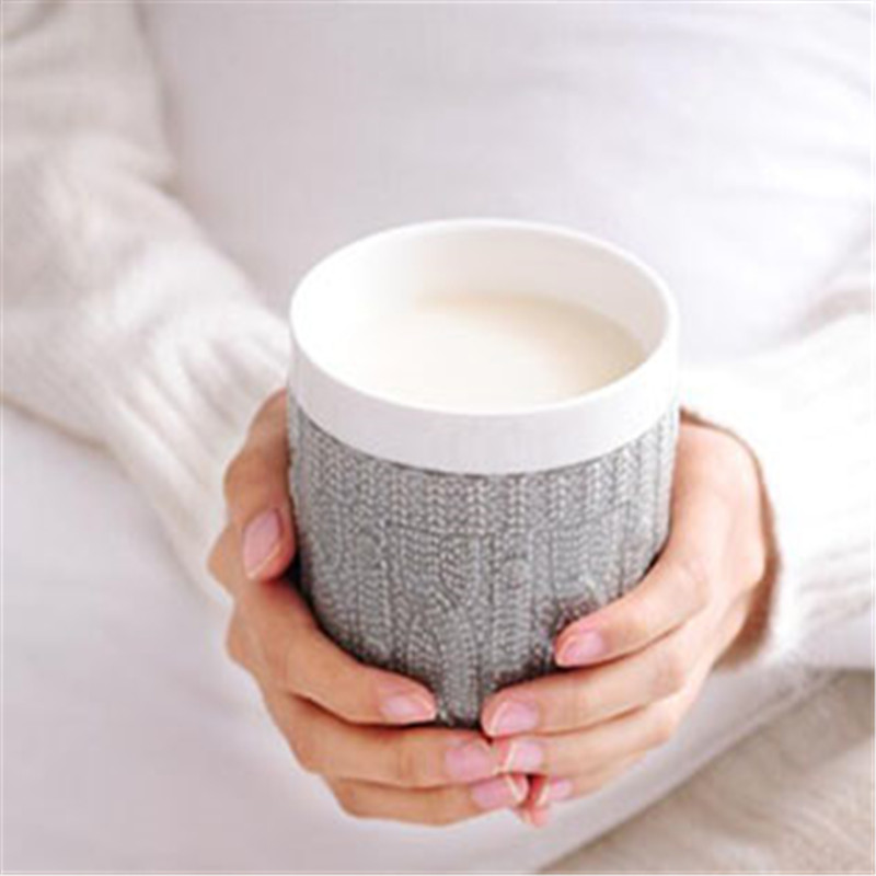 Imitation Sweater Embossed Coffee Mug Milk Mug Original Ceramic Clay Design Soft Fabric Texture Cable Knit