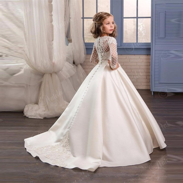 01c12776cd8 Long Ivory Lace Flower Girl Communion Dresses Floor Length Pageant Dresses  For Little Girls Prom Dresses Kids Graduation Dresses