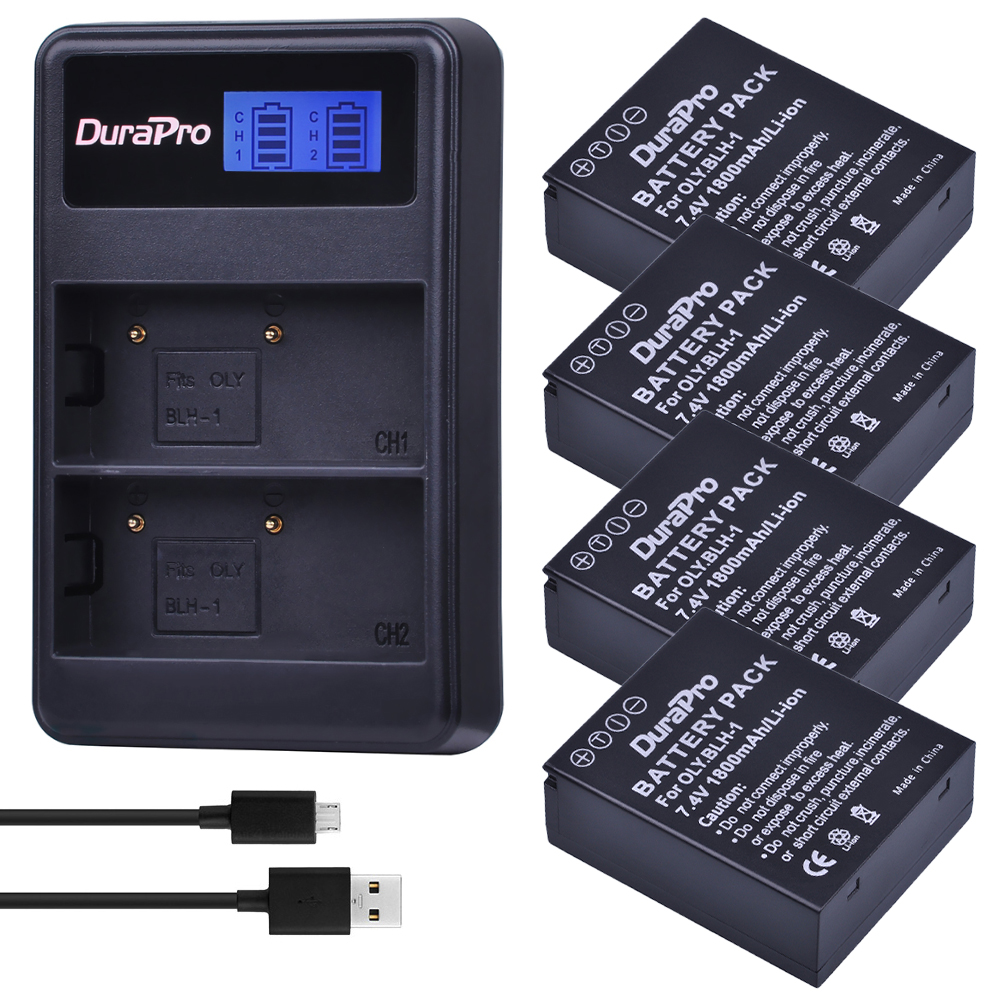 4 pc 1800 mAH BLH-1 BLH1 BLH 1 Remplacement Li-ion Batterie et LCD double Chargeur pour Olympus E-M1 Mark II EM1-2 EM1 Marque Caméra