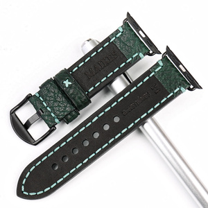 Image 4 - MAIKES Fashion Green Leather Strap For Apple Watch Band 42mm 38mm Series 4/3/2/1 iWatch watchband Apple Watch Strap 44mm 40mm